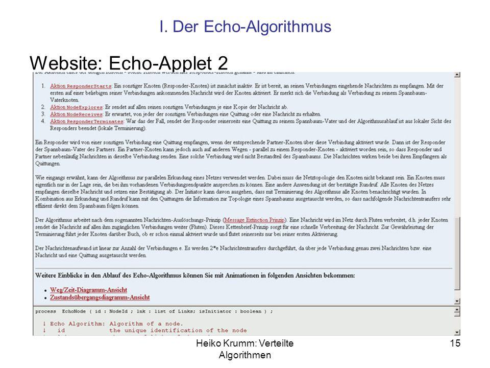 Heiko Krumm: Verteilte Algorithmen 15 I. Der Echo-Algorithmus Website: Echo-Applet 2