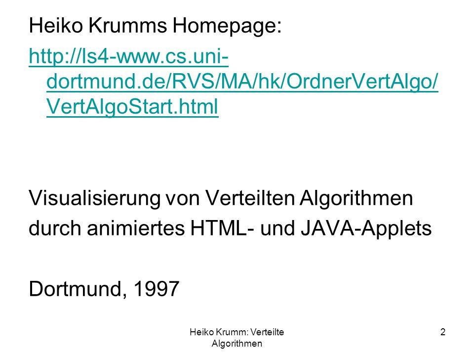 Heiko Krumm: Verteilte Algorithmen 2 Heiko Krumms Homepage: http://ls4-www.cs.uni- dortmund.de/RVS/MA/hk/OrdnerVertAlgo/ VertAlgoStart.html Visualisie