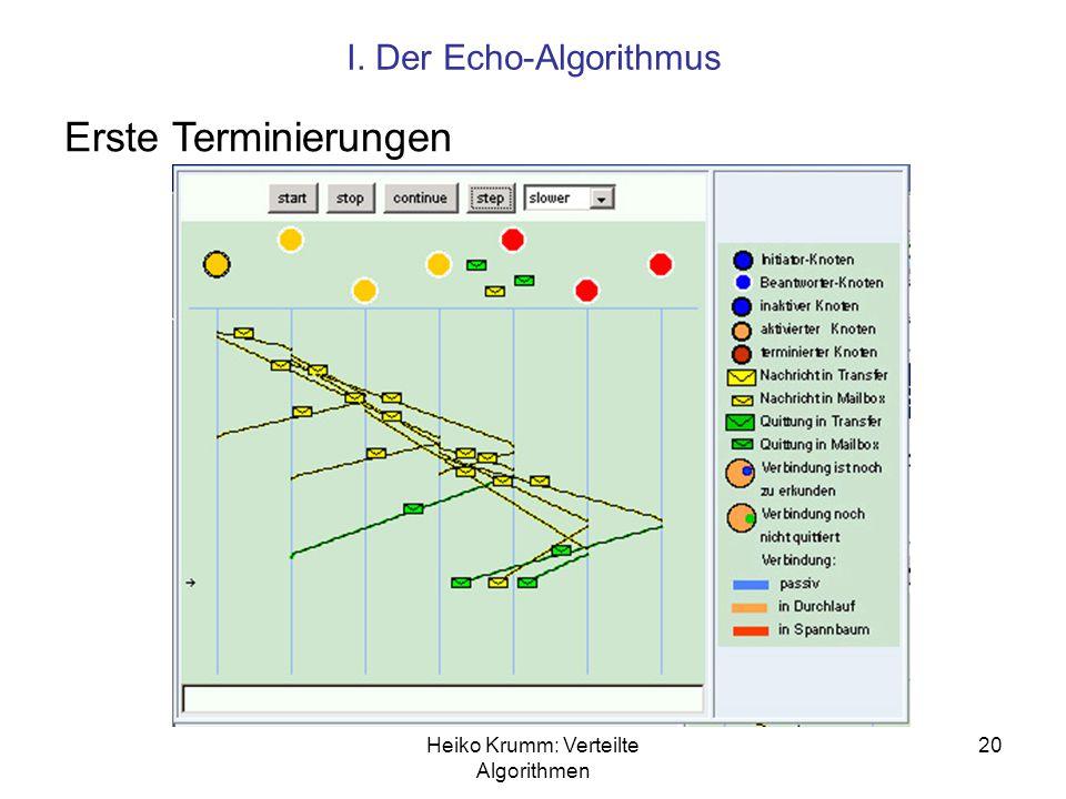 Heiko Krumm: Verteilte Algorithmen 20 I. Der Echo-Algorithmus Erste Terminierungen