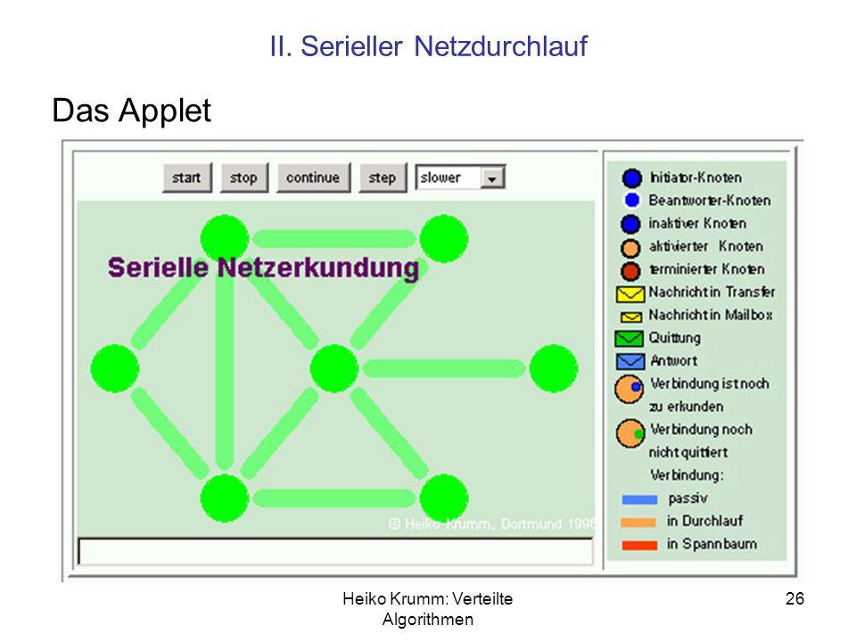 Heiko Krumm: Verteilte Algorithmen 26 II. Serieller Netzdurchlauf Das Applet