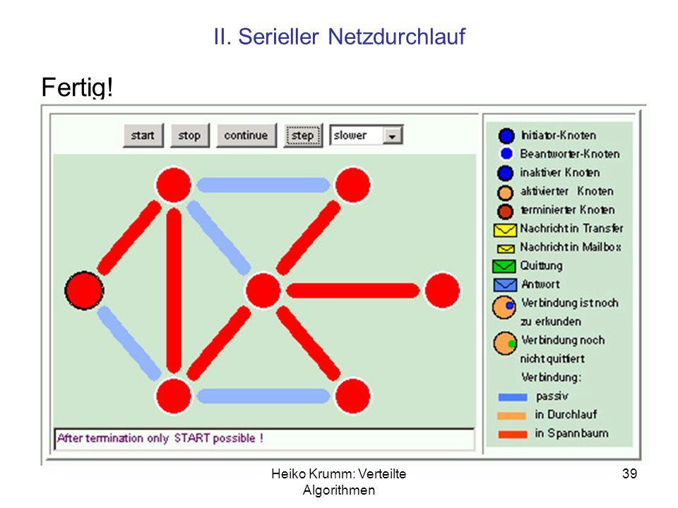 Heiko Krumm: Verteilte Algorithmen 39 II. Serieller Netzdurchlauf Fertig!