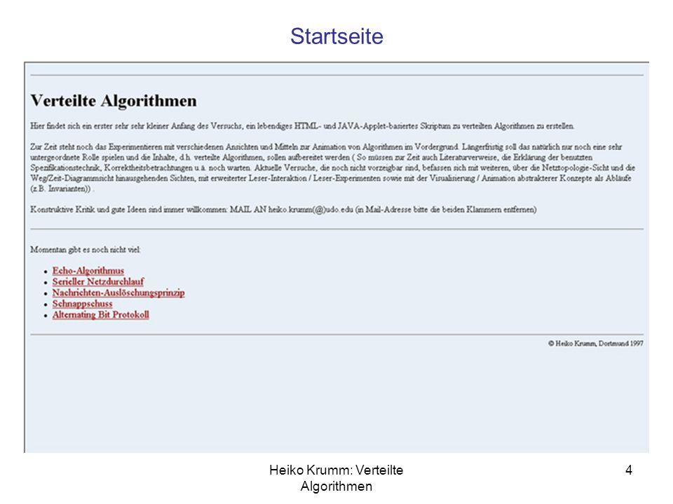 Heiko Krumm: Verteilte Algorithmen 4 Startseite