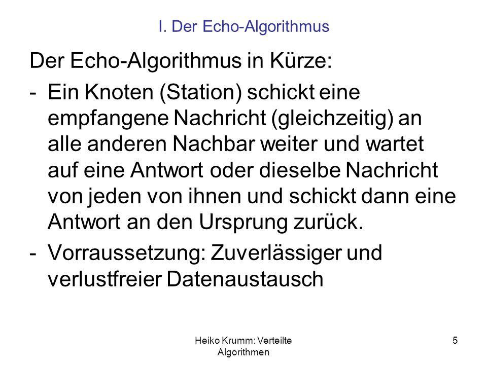 Heiko Krumm: Verteilte Algorithmen 5 I. Der Echo-Algorithmus Der Echo-Algorithmus in Kürze: -Ein Knoten (Station) schickt eine empfangene Nachricht (g
