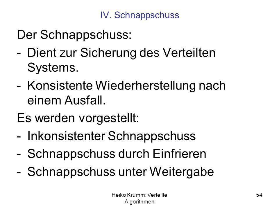 Heiko Krumm: Verteilte Algorithmen 54 IV. Schnappschuss Der Schnappschuss: -Dient zur Sicherung des Verteilten Systems. -Konsistente Wiederherstellung