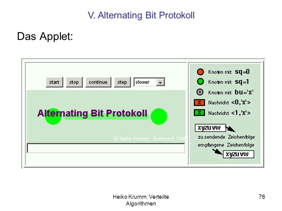Heiko Krumm: Verteilte Algorithmen 76 Das Applet: V. Alternating Bit Protokoll