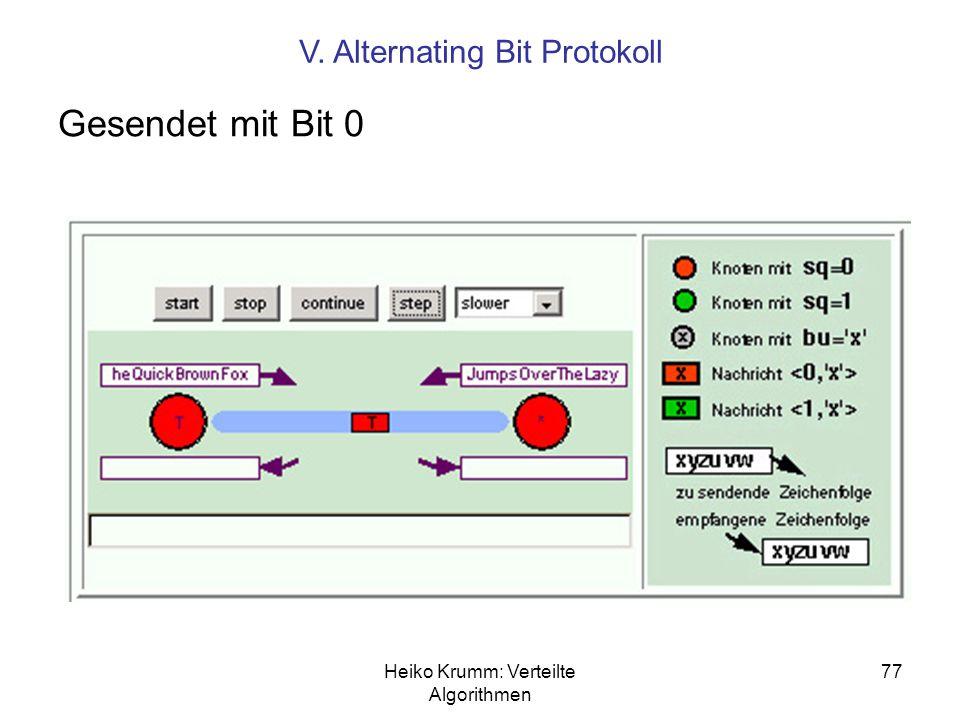 Heiko Krumm: Verteilte Algorithmen 77 Gesendet mit Bit 0 V. Alternating Bit Protokoll