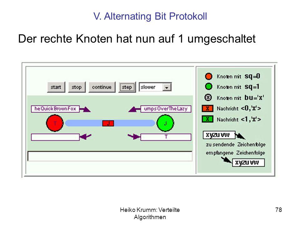 Heiko Krumm: Verteilte Algorithmen 78 Der rechte Knoten hat nun auf 1 umgeschaltet V. Alternating Bit Protokoll