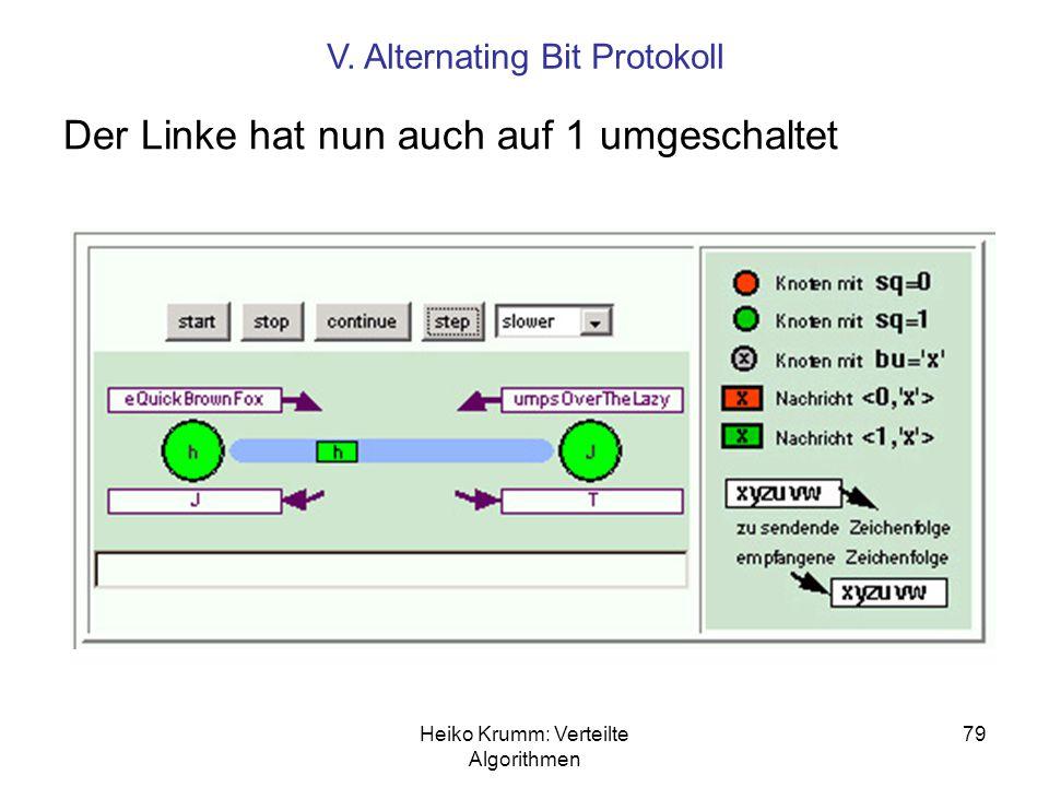 Heiko Krumm: Verteilte Algorithmen 79 Der Linke hat nun auch auf 1 umgeschaltet V. Alternating Bit Protokoll