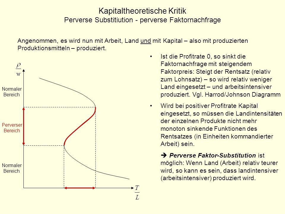 Kapitaltheoretische Kritik Perverse Substitiution - perverse Güterangebot