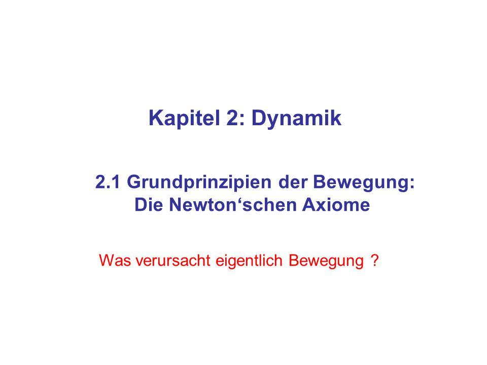 Kapitel 2: Dynamik 2.1 Grundprinzipien der Bewegung: Die Newton'schen Axiome Was verursacht eigentlich Bewegung ?
