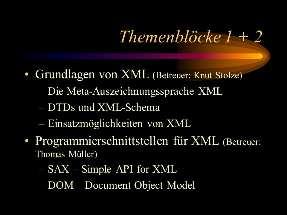 Themenblöcke 1 + 2 Grundlagen von XML (Betreuer: Knut Stolze) –Die Meta-Auszeichnungssprache XML –DTDs und XML-Schema –Einsatzmöglichkeiten von XML Programmierschnittstellen für XML (Betreuer: Thomas Müller) –SAX – Simple API for XML –DOM – Document Object Model
