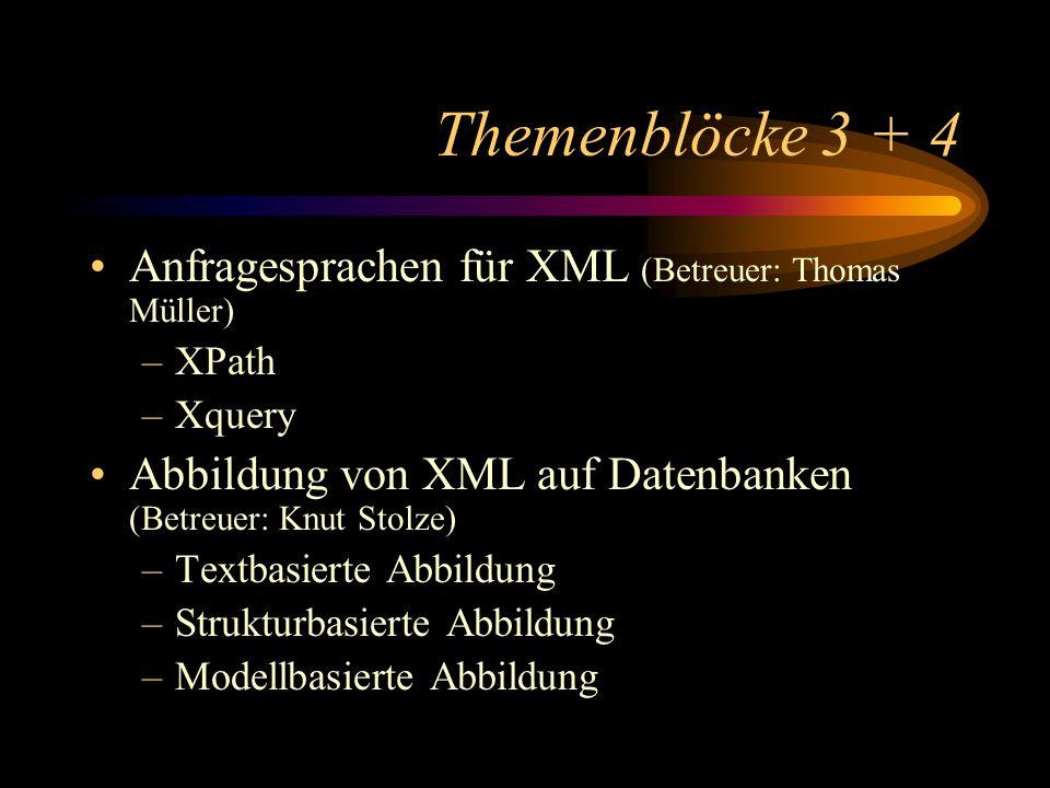 Themenblöcke 3 + 4 Anfragesprachen für XML (Betreuer: Thomas Müller) –XPath –Xquery Abbildung von XML auf Datenbanken (Betreuer: Knut Stolze) –Textbasierte Abbildung –Strukturbasierte Abbildung –Modellbasierte Abbildung