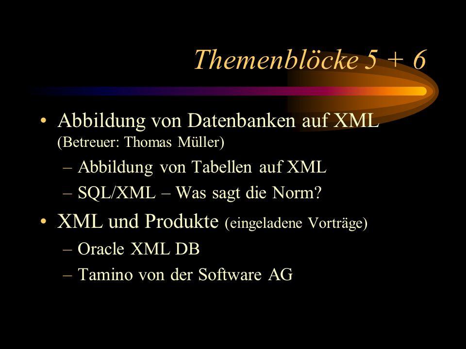 Themenblöcke 5 + 6 Abbildung von Datenbanken auf XML (Betreuer: Thomas Müller) –Abbildung von Tabellen auf XML –SQL/XML – Was sagt die Norm? XML und P