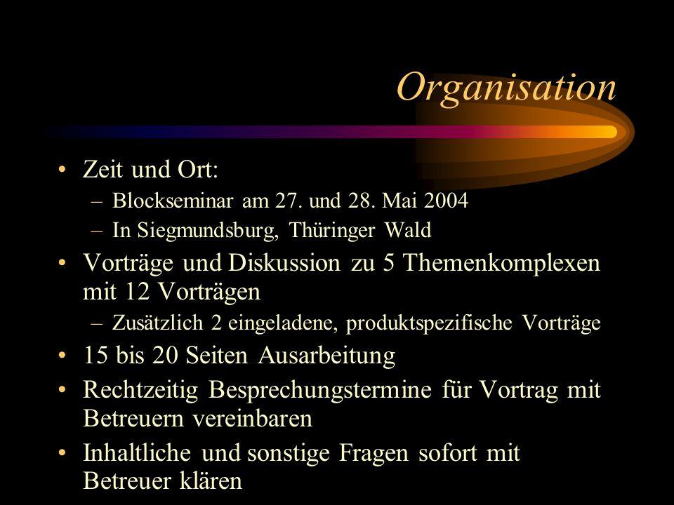 Organisation Zeit und Ort: –Blockseminar am 27. und 28. Mai 2004 –In Siegmundsburg, Thüringer Wald Vorträge und Diskussion zu 5 Themenkomplexen mit 12