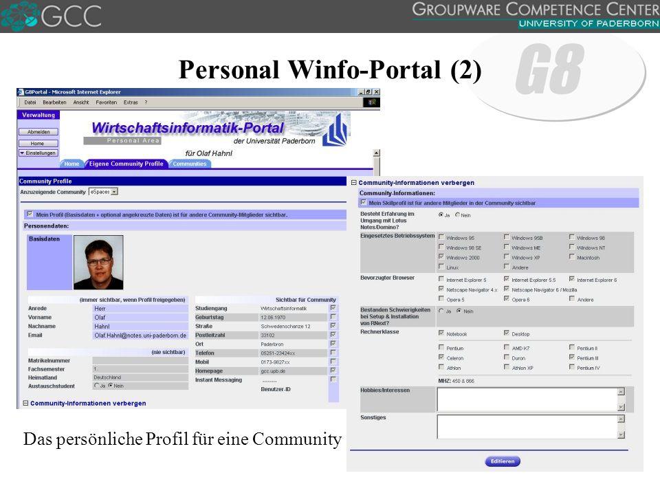 Personal Winfo-Portal (2) Das persönliche Profil für eine Community