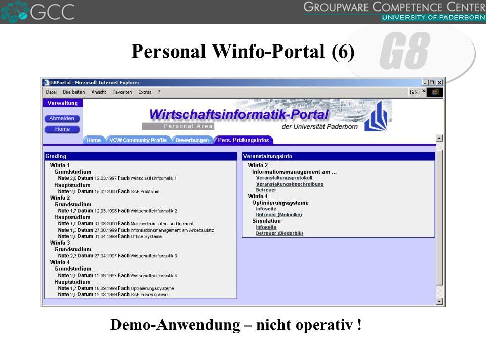 Personal Winfo-Portal (6) Demo-Anwendung – nicht operativ !