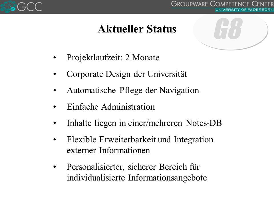 Aktueller Status Projektlaufzeit: 2 Monate Corporate Design der Universität Automatische Pflege der Navigation Einfache Administration Inhalte liegen in einer/mehreren Notes-DB Flexible Erweiterbarkeit und Integration externer Informationen Personalisierter, sicherer Bereich für individualisierte Informationsangebote