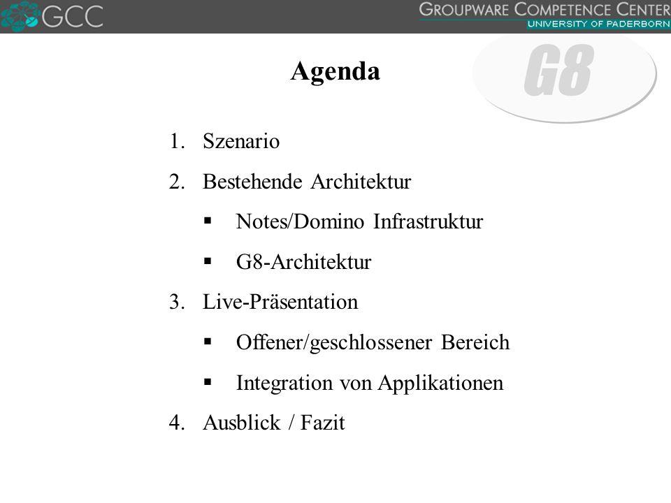 Agenda 1.Szenario 2.Bestehende Architektur  Notes/Domino Infrastruktur  G8-Architektur 3.Live-Präsentation  Offener/geschlossener Bereich  Integration von Applikationen 4.Ausblick / Fazit