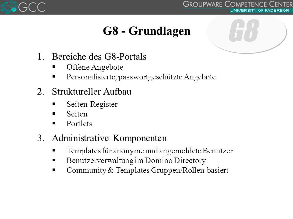 G8 - Grundlagen 1.Bereiche des G8-Portals  Offene Angebote  Personalisierte, passwortgeschützte Angebote 2.Struktureller Aufbau  Seiten-Register  Seiten  Portlets 3.Administrative Komponenten  Templates für anonyme und angemeldete Benutzer  Benutzerverwaltung im Domino Directory  Community & Templates Gruppen/Rollen-basiert