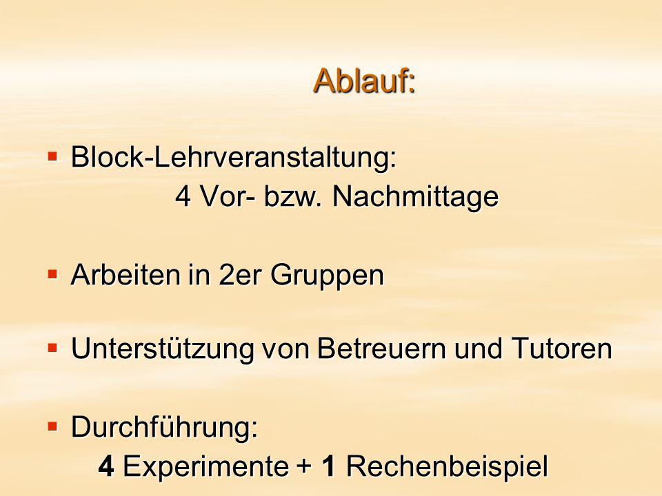 Ablauf:  Block-Lehrveranstaltung: 4 Vor- bzw.