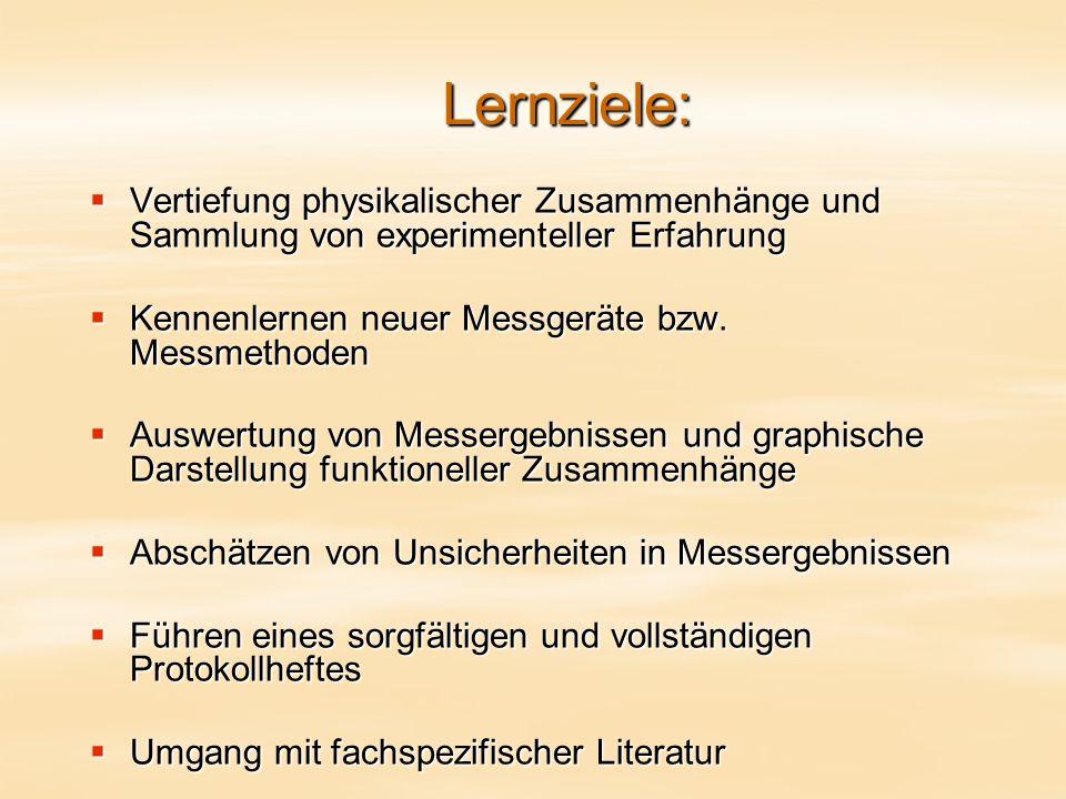 Lernziele:  Vertiefung physikalischer Zusammenhänge und Sammlung von experimenteller Erfahrung  Kennenlernen neuer Messgeräte bzw.