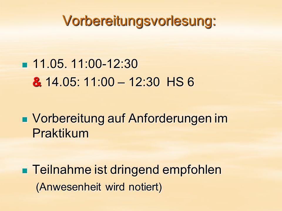 Vorbereitungsvorlesung: 11.05. 11:00-12:30 11.05.
