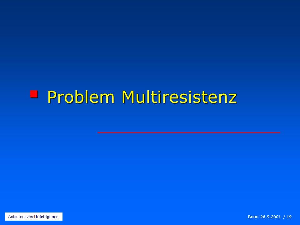 Bonn 26.9.2001 / 19 Antiinfectives I Intelligence  Problem Multiresistenz