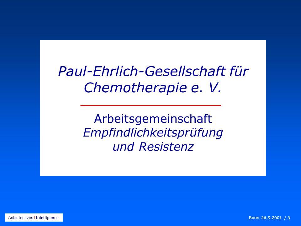 Bonn 26.9.2001 / 3 Antiinfectives I Intelligence Paul-Ehrlich-Gesellschaft für Chemotherapie e.