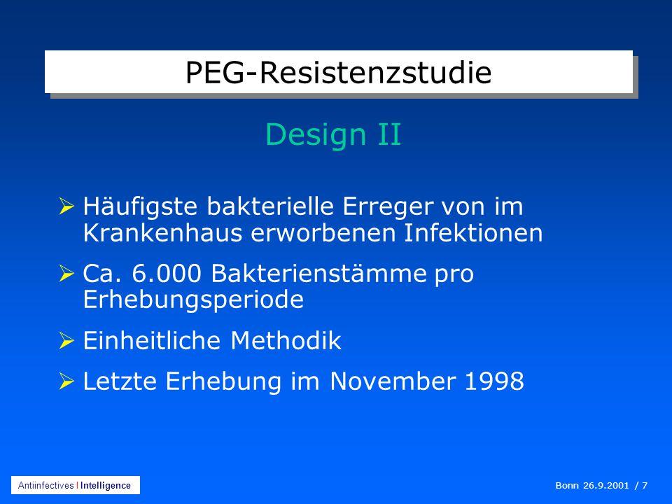 Bonn 26.9.2001 / 7 Antiinfectives I Intelligence  Häufigste bakterielle Erreger von im Krankenhaus erworbenen Infektionen  Ca.