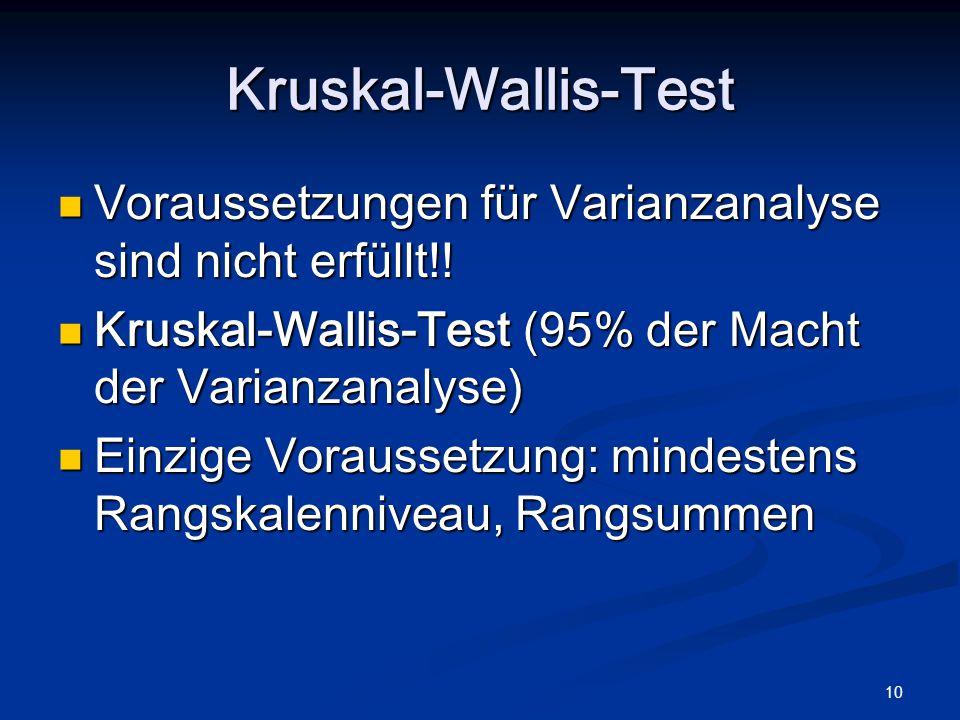10 Kruskal-Wallis-Test Voraussetzungen für Varianzanalyse sind nicht erfüllt!! Voraussetzungen für Varianzanalyse sind nicht erfüllt!! Kruskal-Wallis-