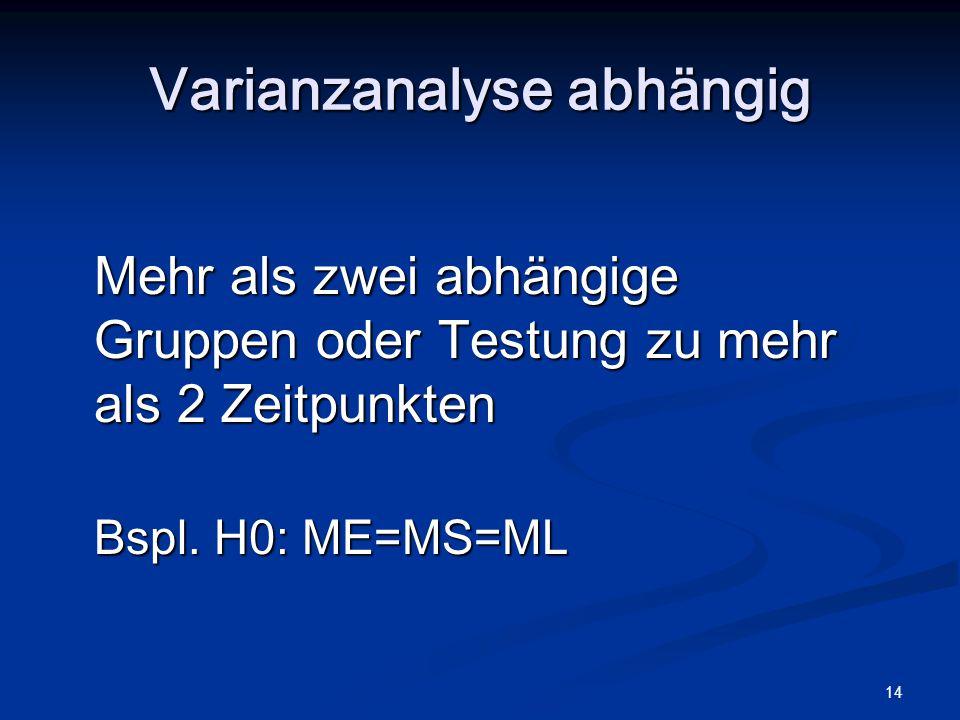 14 Varianzanalyse abhängig Mehr als zwei abhängige Gruppen oder Testung zu mehr als 2 Zeitpunkten Bspl. H0: ME=MS=ML