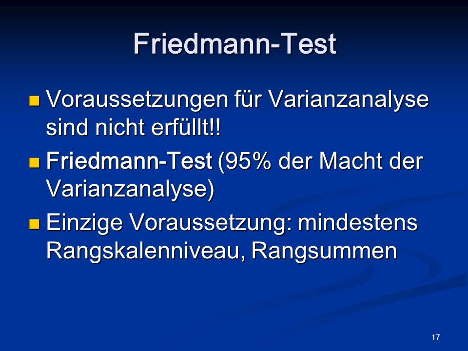 17 Friedmann-Test Voraussetzungen für Varianzanalyse sind nicht erfüllt!! Voraussetzungen für Varianzanalyse sind nicht erfüllt!! Friedmann-Test (95%