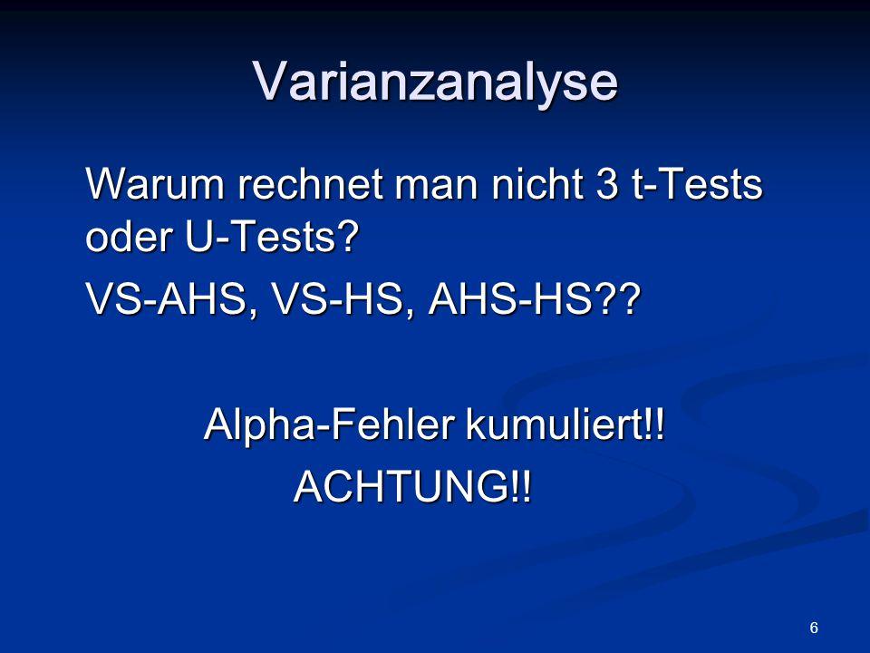6 Warum rechnet man nicht 3 t-Tests oder U-Tests? VS-AHS, VS-HS, AHS-HS?? Alpha-Fehler kumuliert!! ACHTUNG!! Varianzanalyse