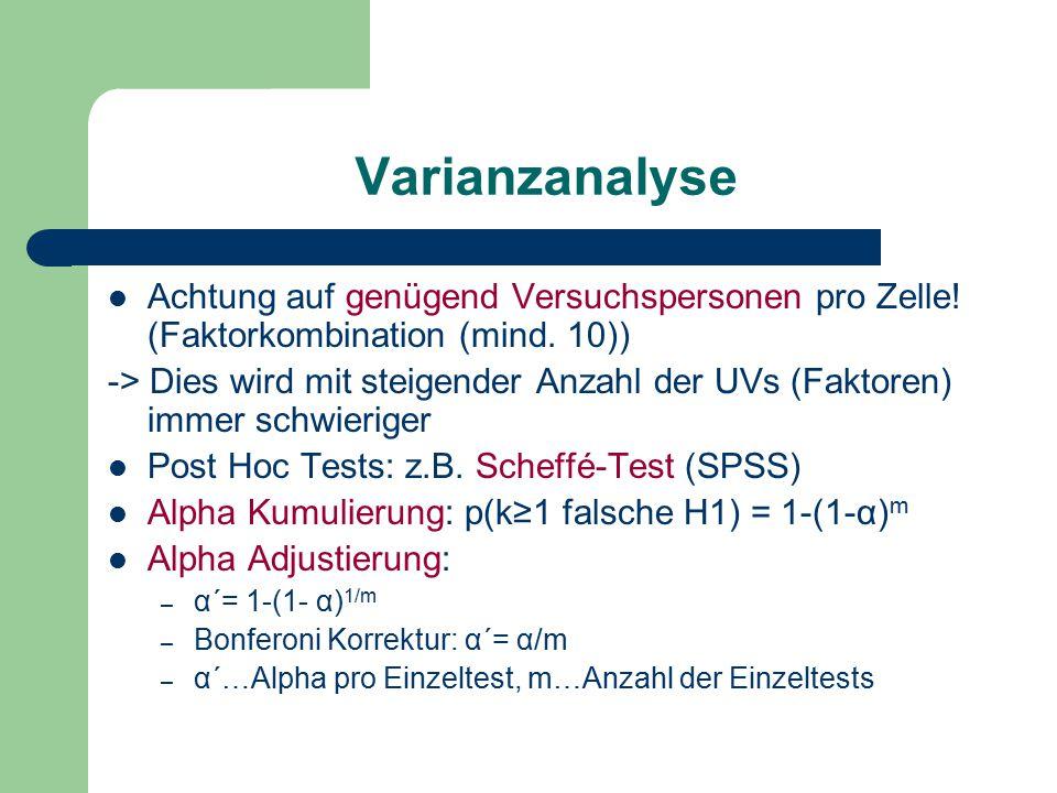Varianzanalyse Achtung auf genügend Versuchspersonen pro Zelle! (Faktorkombination (mind. 10)) -> Dies wird mit steigender Anzahl der UVs (Faktoren) i
