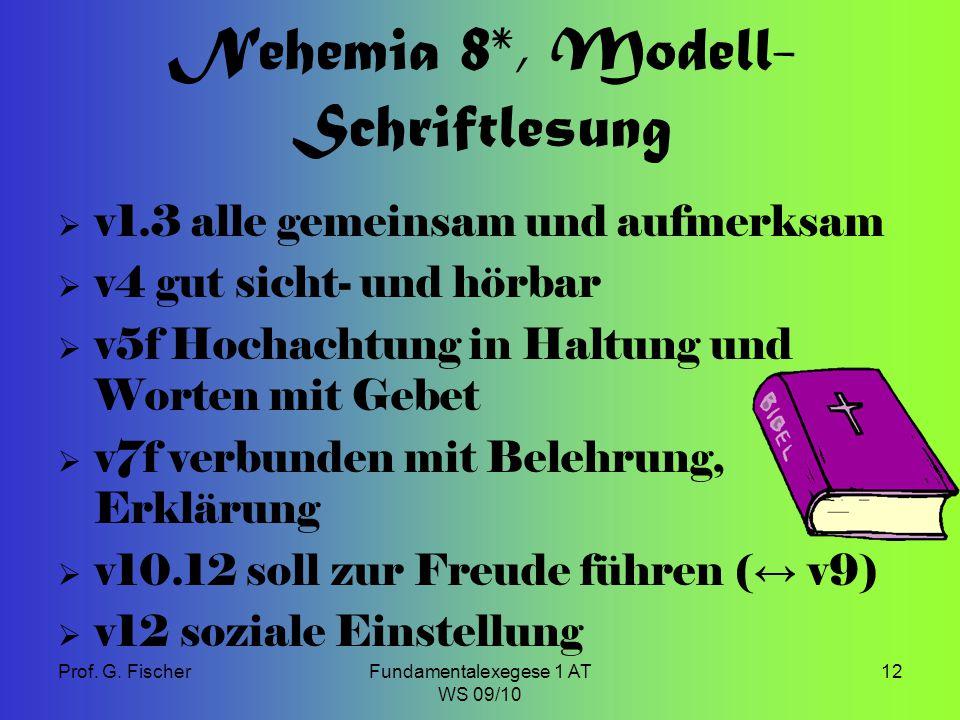 Prof. G. FischerFundamentalexegese 1 AT WS 09/10 12 Nehemia 8*, Modell- Schriftlesung  v1.3 alle gemeinsam und aufmerksam  v4 gut sicht- und hörbar