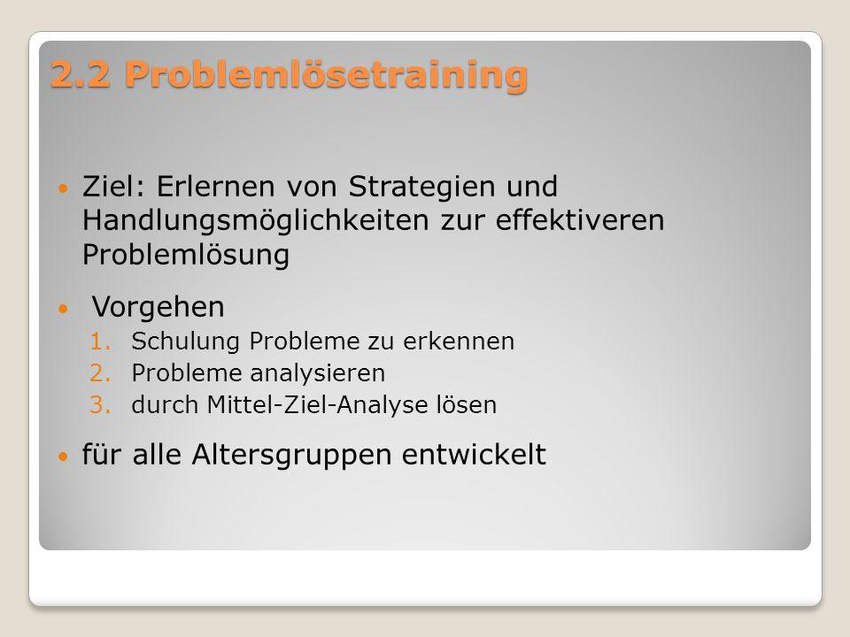 2.2 Problemlösetraining Ziel: Erlernen von Strategien und Handlungsmöglichkeiten zur effektiveren Problemlösung Vorgehen 1.Schulung Probleme zu erkenn