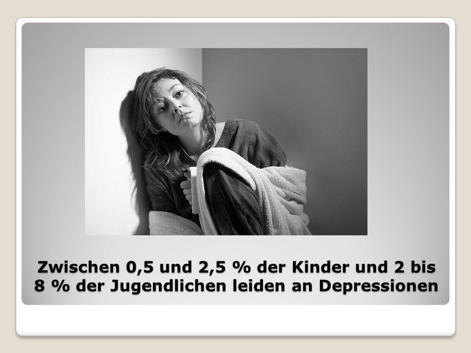 Zwischen 0,5 und 2,5 % der Kinder und 2 bis 8 % der Jugendlichen leiden an Depressionen