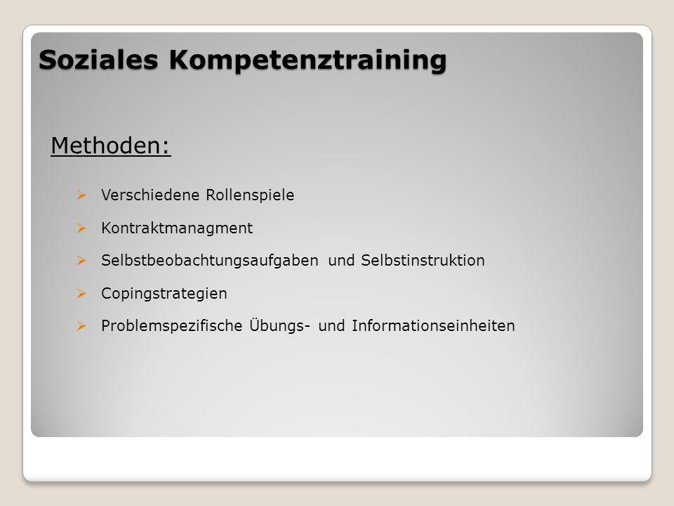 Soziales Kompetenztraining Methoden:  Verschiedene Rollenspiele  Kontraktmanagment  Selbstbeobachtungsaufgaben und Selbstinstruktion  Copingstrategien  Problemspezifische Übungs- und Informationseinheiten