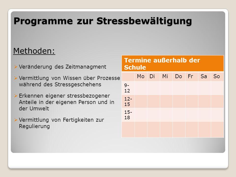 Programme zur Stressbewältigung Methoden:  Veränderung des Zeitmanagment  Vermittlung von Wissen über Prozesse während des Stressgeschehens  Erkenn