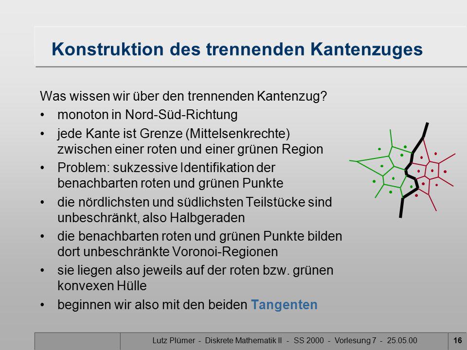 Lutz Plümer - Diskrete Mathematik II - SS 2000 - Vorlesung 7 - 25.05.0015 Was ist das schwierigste Teilproblem.