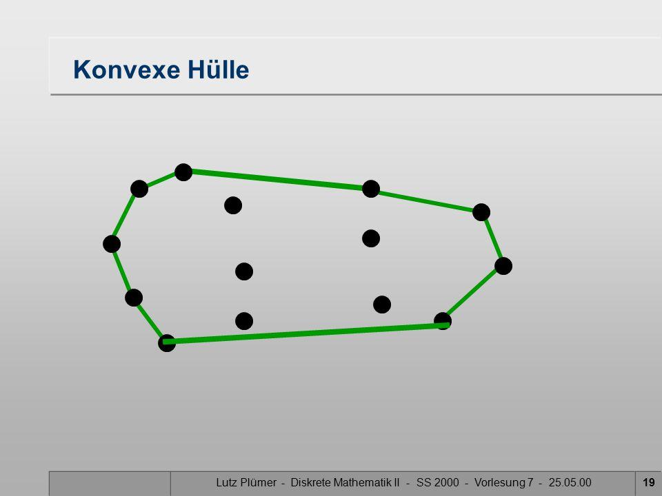 Lutz Plümer - Diskrete Mathematik II - SS 2000 - Vorlesung 7 - 25.05.0018 Tangente – konvexe Hülle