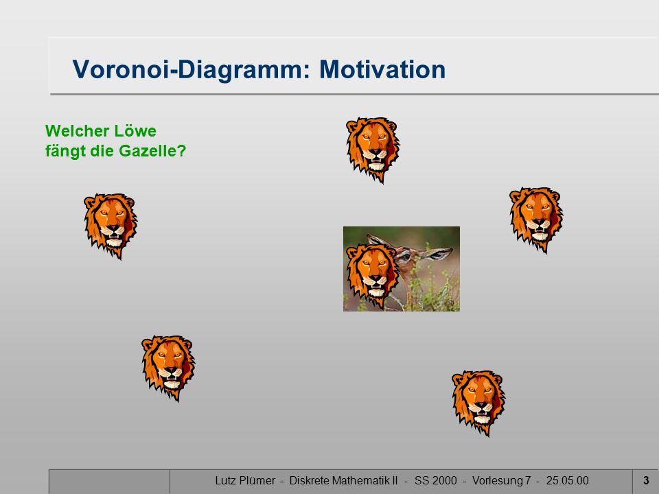 Lutz Plümer - Diskrete Mathematik II - SS 2000 - Vorlesung 7 - 25.05.002 Voronoi-Diagramm: Motivation Welcher Löwe fängt die Gazelle