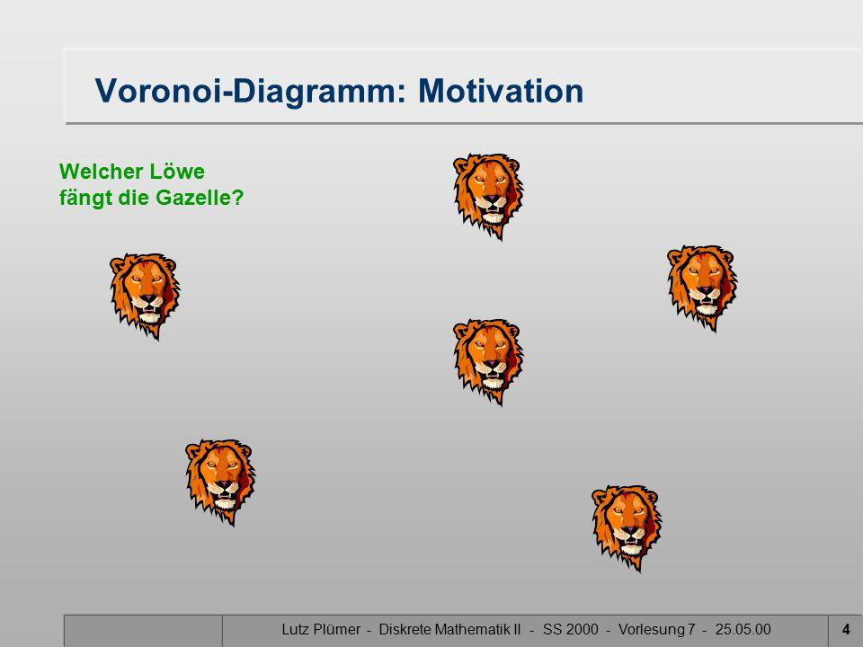 Lutz Plümer - Diskrete Mathematik II - SS 2000 - Vorlesung 7 - 25.05.003 Voronoi-Diagramm: Motivation Welcher Löwe fängt die Gazelle