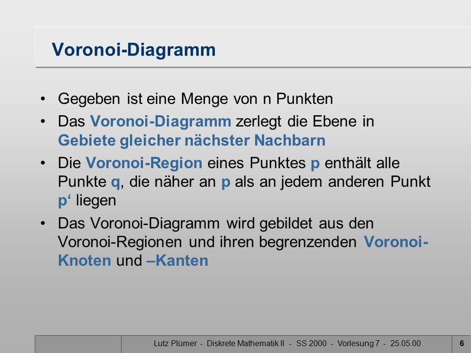 Lutz Plümer - Diskrete Mathematik II - SS 2000 - Vorlesung 7 - 25.05.005 Zu Beginn eine interaktive Animation Quelle: Fern Universität Hagen http://wwwpi6.fernuni-hagen.de/Geometrie-Labor/VoroGlide/