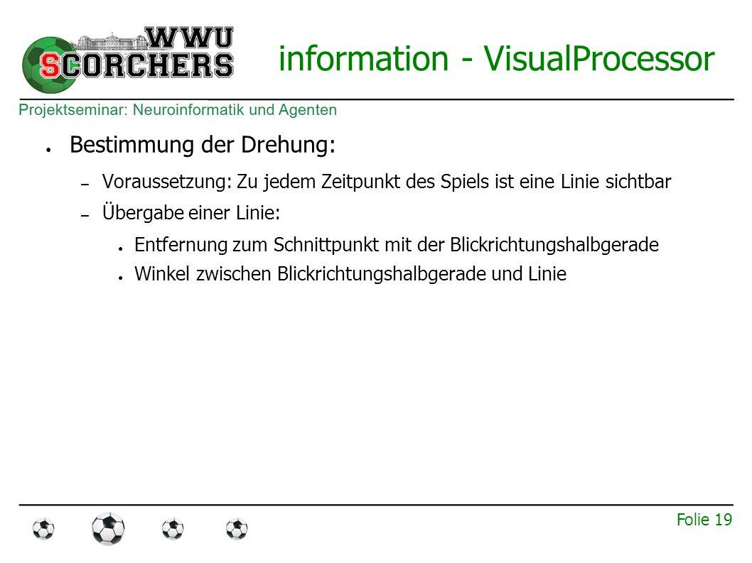 Folie 18 information - VisualProcessor ● Lokalisierung: Umwandeln der relativen Positionsangaben in absolute – Bestimmung der Drehung – Bestimmung der x-, y-Koordinaten