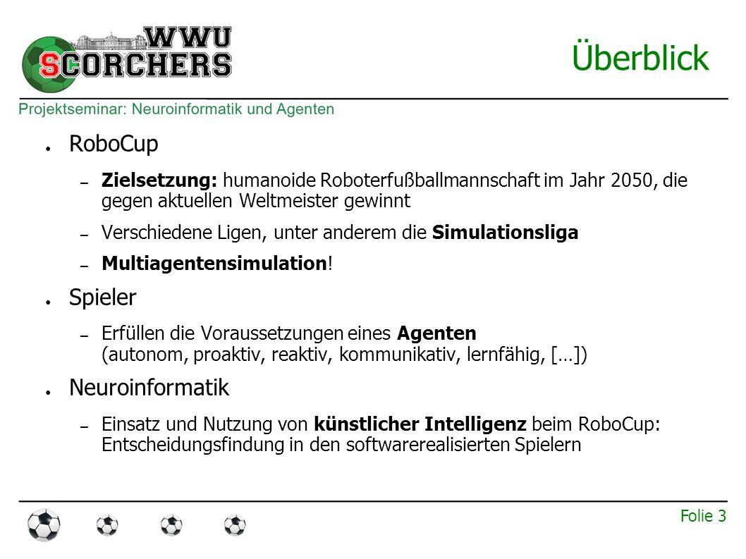 Folie 3 Überblick ● RoboCup – Zielsetzung: humanoide Roboterfußballmannschaft im Jahr 2050, die gegen aktuellen Weltmeister gewinnt – Verschiedene Ligen, unter anderem die Simulationsliga – Multiagentensimulation.