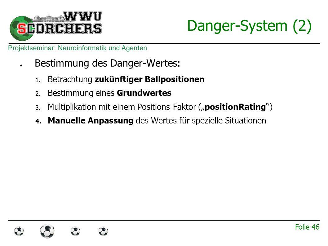 Folie 45 Danger-System (1) ● Drei möglichen Aktionen bei eigenem Ballbesitz: – Dribbeln – Passen – Torschuss ● Entscheidungsfindung durch Danger-System