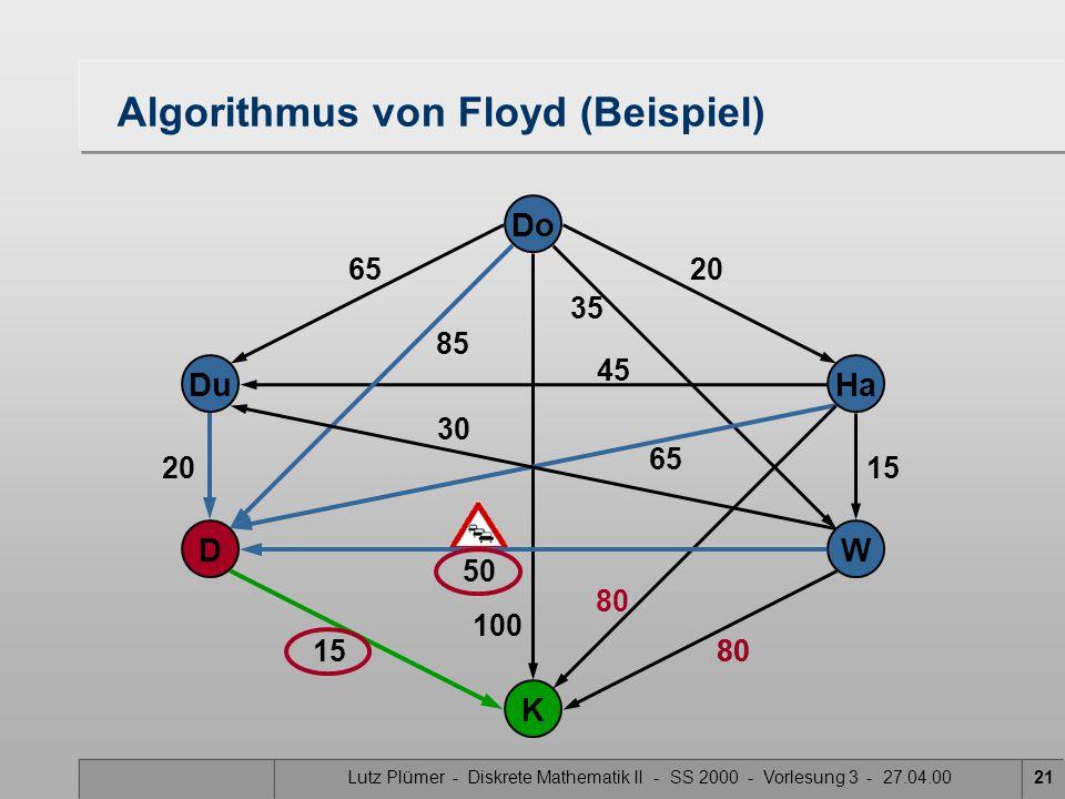 Lutz Plümer - Diskrete Mathematik II - SS 2000 - Vorlesung 3 - 27.04.0021 80 100 Do Ha W Du K D 30 50 20 15 65 20 15 35 85 45 65 Algorithmus von Floyd (Beispiel) 80
