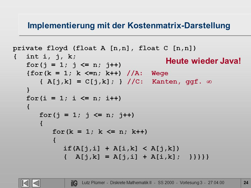 Implementierung mit der Kostenmatrix-Darstellung private floyd (float A [n,n], float C [n,n]) {int i, j, k; for(j = 1; j <= n; j++) {for(k = 1; k <=n; k++) //A: Wege { A[j,k] = C[j,k]; } //C: Kanten, ggf.