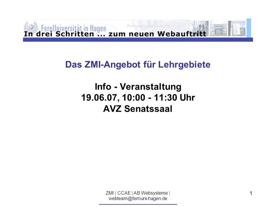 ZMI | CCAE | AB Websysteme | webteam@fernuni-hagen.de ————————————————————————————— 12...